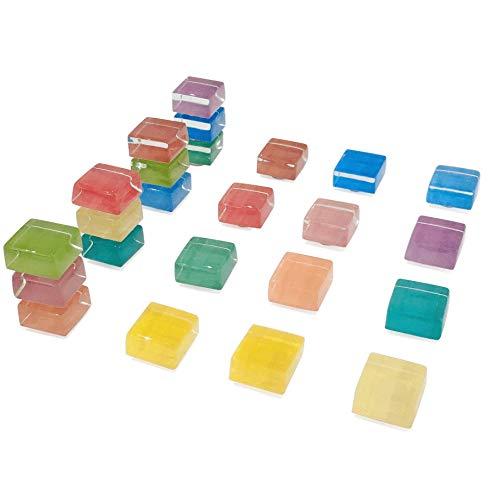 Quadratische bunte Glasmagnete für Küche Büro, 15mm Kühlschrank Magnet, Kühlschrankmagnete für Whiteboard und trocken löschen Board Multicolor niedlich Spaß Dekoration (24 Pack) - Quadratische Magnete