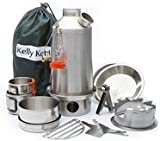 Ultimate 'Base Camp' Kelly Kettle Kit - VALUE DEAL (Includes 1.6 ltr Stainless Steel 'Base Camp' Kettle + Cook Set + Hobo Camping Stove + Camp Cups (2pcs) + FREE Plates (2pcs)*+ Pot Support + Bag