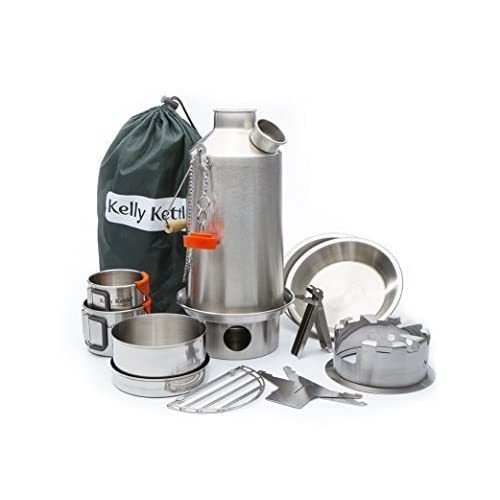 41F%2ByayOYAL. SS500  - Ultimate 'Base Camp' Kelly Kettle Kit - VALUE DEAL (1.6 ltr Stainless Steel 'Base Camp' Kettle + Cook Set + Hobo Camping Stove + Camp Cups (2pcs) + Plates (2pcs) + Pot Support + Bag + Green Whistle has replaced the Orange Stopper