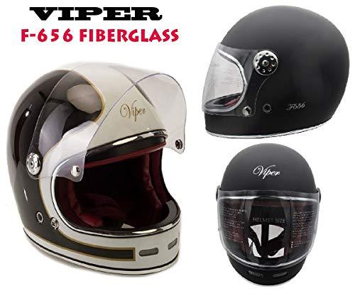 Caschi moto - viper f656 casco in fibra di vetro nuovi vintage stile casco moto integrale touring casco sportivi ece approvato classic bobber casco retro classic chopper (nero bianco,m)