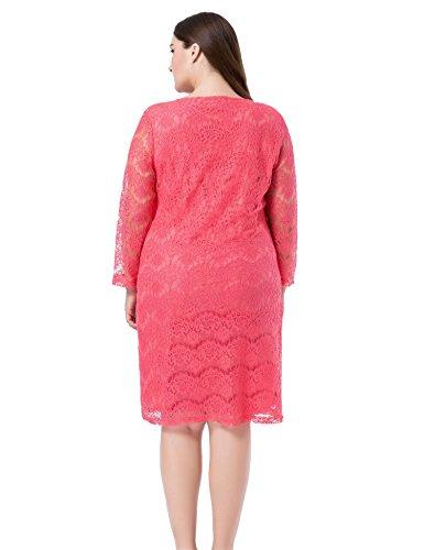 Chicwe luxe dentelle Robe Femmes Grande Taille Bordée de 3/4 manches EU42-60 Orange