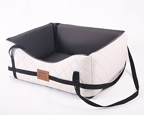 Mayaadi-Home Hundeautositz Kunst Leder Hundebett Autokörbchen Autositz Gestepptes MH-GDHA-02 (XL (75x65x26cm), Weiß)