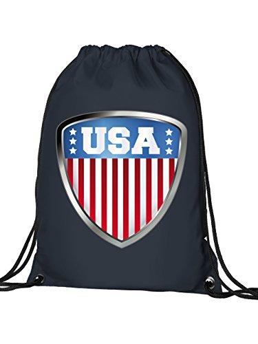 Golebros USA 4691 Wappen Fussball Fanartikel Turnbeutel mit verstärkten Ecken und Metallösen Navy