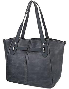 iTal-dEsiGn Damentasche Große Schultertasche Handtasche In Used Optik Kunstleder TA-C-568