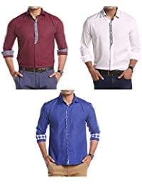 Mark Pollo London Cotton Rich Fabric With Linen Look Slim Fit Formal And Semi Formal Combo Of 3 Shirts For Men