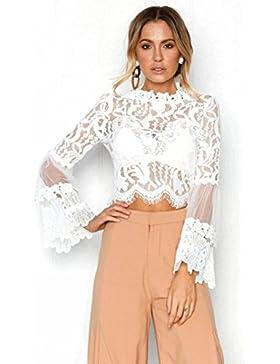 QinMM Blusa Corta de Encaje Mujer, Camiseta Transparente Camisa de Manga Larga Tops