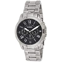 Fossil Grant Chronograph Black Dial Silver Stainless Steel Watch for  Men  - FS4736
