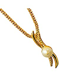 """Surat Diamond White Real Freshwater Pearl Gold Plated Pendant & 22"""" Chain For Girls (SDS247)"""