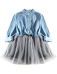 K-youth® Denim Vestidos Niña Wedding Party Birthday Dress Tutú Princesa Vestido de Fiesta