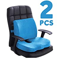 Gluckluz Seat Cushion Lumbar Support Pillow Set Memory Foam Back Coccyx Orthopedic Ergonomic Pads for Office Chair Car Truck Truck Relieves Back Tailbone Pain Sciatica (Blue)