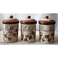 Set 3 Barattoli Sale Zucchero Caffé Linea Edere Marrone Ceramica Le Ceramiche del Castello Handmade Pezzi Unici Made in Italy dimensioni 13 x 10,5 centimetri cadauno