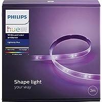 Philips Hue LightStrip+ Basis Set (ohne Bridge), 2m, flexibel erweiterbar, dimmbar, bis zu 16 Millionen Farben, steuerbar via App, kompatibel mit Amazon Alexa (Echo, Echo Dot)