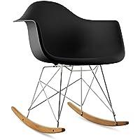 oneConcept Aurel • Schaukelstuhl • Schalenstuhl • Designstuhl • Retro-Stuhl • 70er Retro Look • breite Sitzfläche • hochwertige Hartplastik-Schale • Birkenholz • zeitlos • komfortabel • schwarz