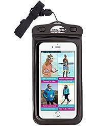 # 1impermeable teléfono móvil para iphone, Android, iPad, Tablet, Kindle, cámara, llaves, dinero, pasaporte. 4tamaños disponibles. SwimCell alta calidad. Certificado IPX8. Probado 10metros bajo el agua. Patentado, fácil de usar Twist Seal.