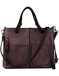 Purple : YUAN High Quality Women Elegant Female Bag New Double Pocket Design Oblique Messenger Square Shoulder...