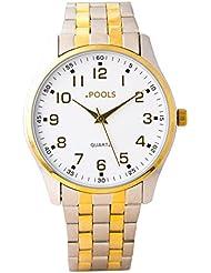 Baciami. piscines 3004Homme Montre bracelet en métal Bracelet Or Rose Argent Quartz Horloge moderne inoxydable intemporel Golden Pilotée Design classique