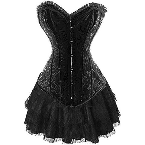 Ribbon Lace Up Steel Boned Corset Waist Training Bustier Top & Mini Skirt