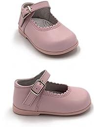 ELFOS - Zapato niña tipo merceditas con hebilla. Todo piel. Suela Goma. Primeros pasos. Hecho en España. Color - ROSA