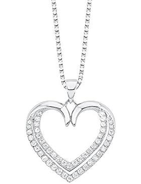 s.Oliver Damen-Kette mit Anhänger Herz 925 Silber rhodiniert Zirkonia weiß 45 cm - 567213