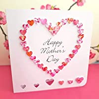 Handmade Happy Mother's Day Card - Pink 3D Hand Made Love Heart