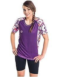 Nessi Damen T-Shirt DK Laufshirt Fitnesshirt Atmungsaktiv Violet Flowers