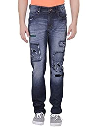Realm Men Dark Blue Slim Fit Highly Distressed With Patch Stretchable Jeans