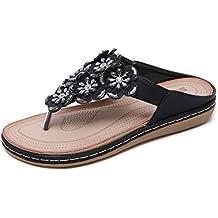 Zapatos de Playa Transpirables de Estilo étnico Bohemio para Mujer Cómodas Sandalias Planas con pedrería de