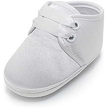 Delebao Scarpe per battesimo o un matrimonio Scarpe primi passi bambini Bianco Sole bambino scarpe stringate 0-12 Mesi