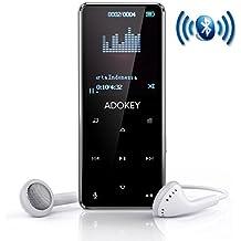 Reproductor de música MP3 Bluetooth, ADOKEY 8G HIFI reproductor de metal de calidad de sonido sin pérdidas, 9 botones táctiles con radio FM y función de grabación, pantalla de 1.8TFT, soporte máximo Tarjeta SD de 64GB, puede jugar 55 horas de reproductor de música.