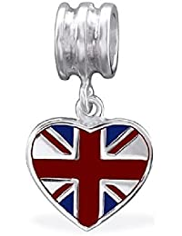 So Chic Joyas - Abalorio Charm Reino Unido Bandera Esmalte - Compatible con Pandora, Trollbeads, Chamilia, Biagi - Plata 925