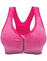Westeng Femme Soutien-Gorge de Sport Lingerie Avant Zipper Brassière Sport  Push Up Bra Courir 342ae439816