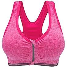 Westeng Sujetador Deportivo Gimnasio Ropa Correr Sin Costuras Yoga Almohadillas Extraíbles Comodidad Frontal Cremallera Mujer Chica Rosa, 1Pcs