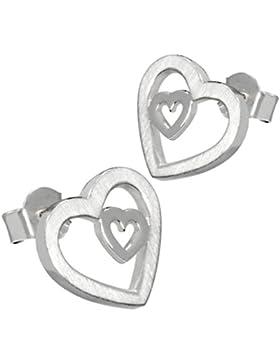 Vinani Damen-Ohrstecker Herz in Herz Sterling Silber 925 Ohrringe OHH