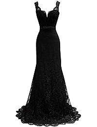 0e67dbb31959f Elegante Donna Vestito Pizzo Floreale V-Collo Profondo Abito Da Sera Floor  Length