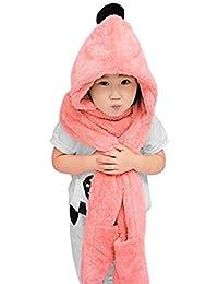 ba72e3149ef2 Enfant Bonnet Echarpe Gant 3 en 1 Chapeau en Peluche à Pompon Automne Hiver  Casquette Chapka