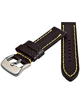 Premium Leder Uhrenarmband 20-22-24mm Carbon Optik Schwarz Gelbe Naht Armband 20mm