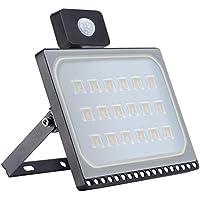Awhao Ultra-delgado sensor de luces Foco Led Exterior Floodlight Iluminación Jardin Impermeable Lámparas de Iluminación LED al Aire Libre con de Movimiento prueba de polvo grado IP67 (100WB)