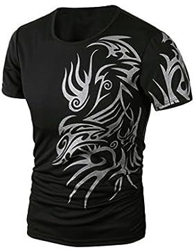 Sannysis Herren Sommer Drucken Kurzarm Hemd T-Shirt Bluse