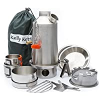 Ultimate 'Base Camp' Kelly Kettle Kit - VALUE DEAL (Includes 1.6 ltr Stainless Steel 'Base Camp' Kettle + Cook Set + Hobo Camping Stove + Camp Cups (2pcs) + Plates (2pcs) + Pot Support + Carry Bag