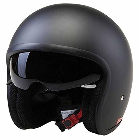 ece22.05 zugelassen Viper Motorrad Motorrad Tempo Touring Reisende Helm Jethelm Jet - MATTSCHWARZ - Matt Schwarz, X-Large - 62cm