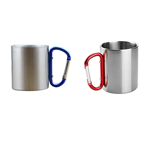 Baoblaze 2 x Aluminium Karabiner Kaffetasse Bierbecher Wasser Tasse Becher für Outdoor