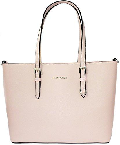 Shopper Tasche Handtasche Rosa Flora & Co Schultertasche (Damen Flora Handtasche)