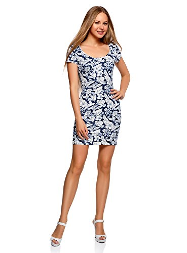 oodji Ultra Damen Enges Jersey-Kleid Blau (7930F)