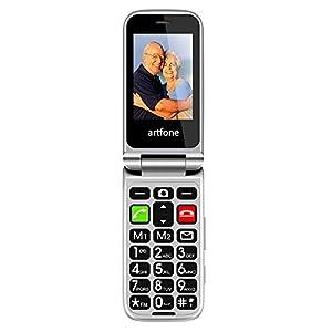 Artfone Telefono Cellulare a Conchiglia per Anziani, Tasti Grandi, Facile da usare con SOS (nero)