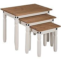 mercers furniture Corona–Juego de mesas encajables, Madera Pintada, Color Crema/Cera Envejecida