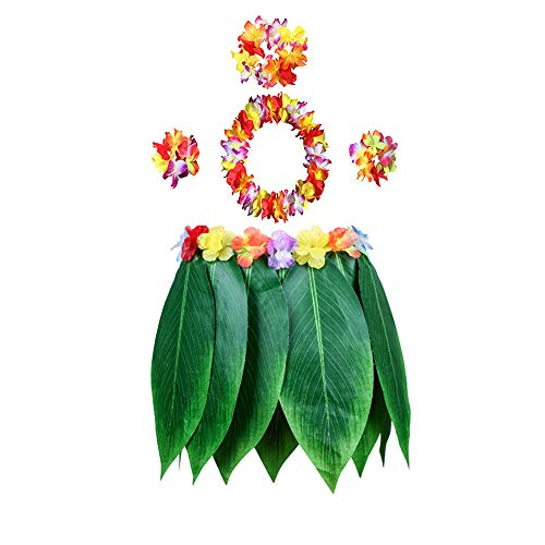 nf Teilen Hawaiian Girl Rock Leis Fancy Dress, Hula Grass Rock mit Flower Leis-Kostüm Luau Grass und Hawaiian Flower Bracelets ()