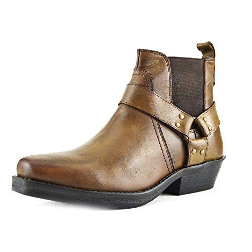 Kick Footwear - Uomo Mens Cowboy In Pelle Stivaletti Biker Boots Stivali da cowboy Tan - 3