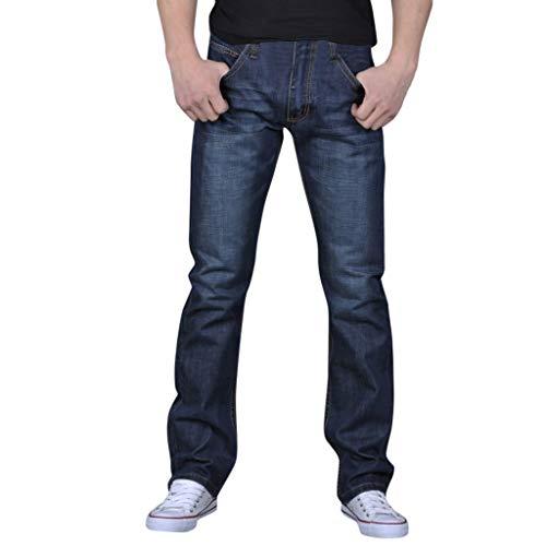 Longra  ♀️ Pantalón Casual Hombre! Color sólido de los Hombres de algodón de Mezclilla Vintage...