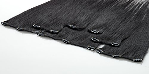 FROHLOCKE Clip In Extensions Echthaar 7tlg Set für komplette Haarverlängerung (40cm, 1b - schwarzbraun)