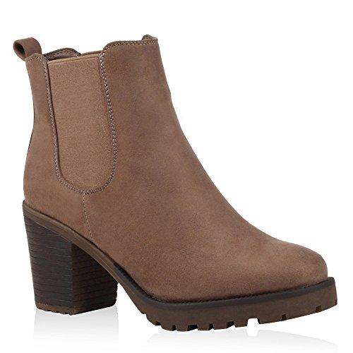 Stiefelparadies Damen Stiefeletten Chelsea Boots Wildleder-Optik Schuhe High Heel Plateau Booties Profilsohle 125271 Khaki Hellbraun 37 Flandell
